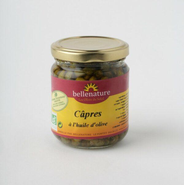 câpres à l'huile d'olive en bocal verre